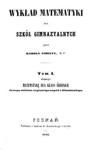 Karol Libelt Wykład matematyki
