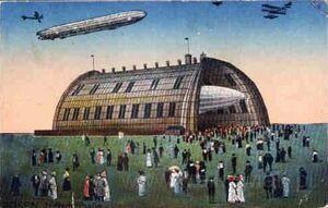 Pocztówka - hala zeppelinów