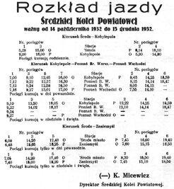 Kobylepole Wąskotorowa rozkład jazdy 1932