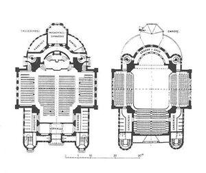 Poznań synagoga - rzut parteru i piętra