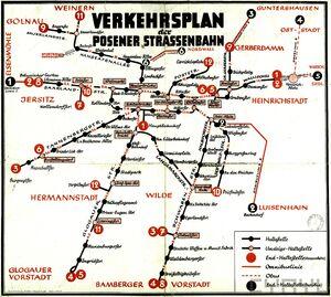 Verkehrsplan der Posener Strassenbahn 1940-1944