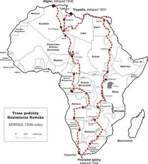 Mapa podrózy Kazimierza Nowaka