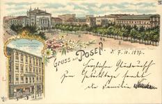 Wilhelmsplatz mit deutschen Theater - Pocztówka