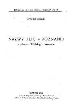 Nazwy ulic w Poznaniu z planem Wielkiego Poznania