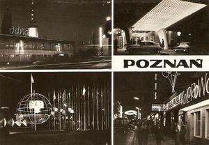 Poznań nocą pocztówka