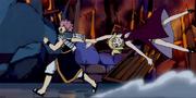 Natsu arrastra a Lucy