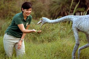 Suzanne feeding Ornithomimus