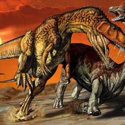 Aegyptosaurus atacado por Carcharodontosaurus