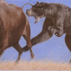 Arctodus cazando un bisonte