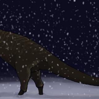 Albertosaurus en lo peor del invierno
