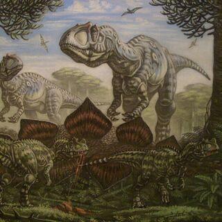 Abajo ceratosaurios y arriba presuntamente un Allosaurus.