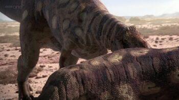Majungasaurus alimentandose de otro de su especie