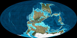 Paleomapa 300.000.000 de años a.C. (Carbonífero)