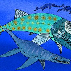 Liopleurodon atacando a un <a href=