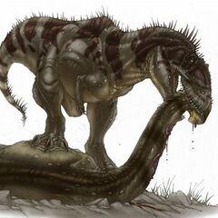 Tyrannotitan mordiendo a un sauropodo