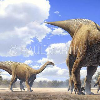 Grupo de Plateosaurus en una planicie.