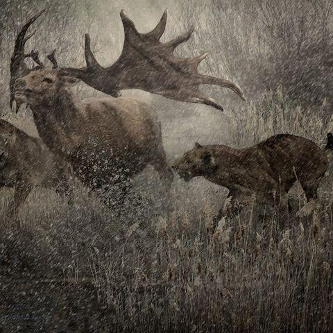 Un par de Homotherium persiguen un ciervo Megaloceros giganteus a lo largo del Támesis; interglacial hace unos 120 millones de años.