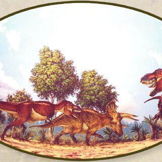 Dos Tyrannosaurus Rex contra un Triceratops.