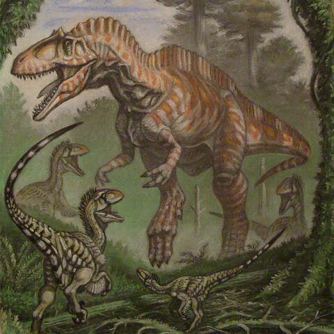 Acrocanthosaurus con pequeños raptores debajo.