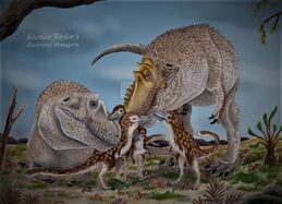 Tyrannosaurus rex family by illustratedmenagerie-dc5vwaw