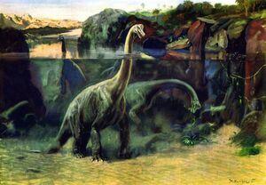 Brachiosaurus illustrated by Zdenek Burian, 1941