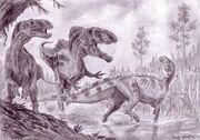 Тенонтозавры и акрокантозавр
