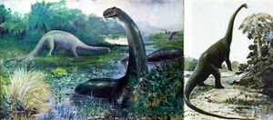 Two classic sauropod paintings by Knight. Left- Brontosaurus, painted in 1897. Right- Diplodocus, painted in 1907