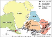 Распространение археоциат вдоль береговой линии Гондваны в раннем кембрии