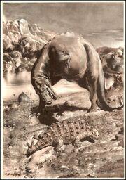 Gorgosaurus & Scolosaurus Zdeněk Burian, Prehistoric Animals (1960)