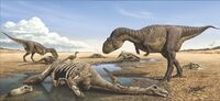 Majungasaurus and dead Rapetosaurus Raul Martin