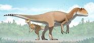 Allosaurus and infant by fredthedinosaurman-d9vixe0