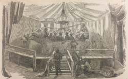 The Illustrated London News, January 7 1854, showing 'Dinner in the Iguanodon Model, at the Crystal Palace, Sydenham'