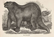 """IGUANODON"" – 1859 dinosaur illustration from the Illustrated Natural History of the Animal Kingdom by Samuel G. Goodrich"