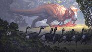 Тираннозавр и орнитомимиды