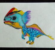 Cartoon Erliphosaurus by wikkdatstick