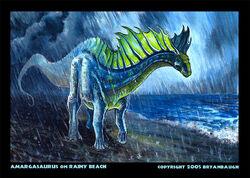 Amargasaurus on rainy beach by bryanbaugh-ddhfpv