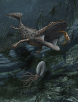 Restoration of an adult individual of Mahavisaurus dentatus, hunting the small decapod crustacean (5 cm in maximum body length) Ifasya straeleni. (Digital painting by Davide Bonadonna)