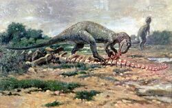 Allosaurus preying on Apatosaurus, 1904 Charles Robert Knight