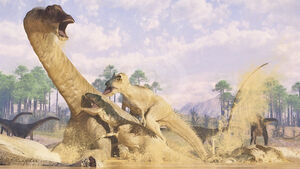 Allosaurus and diplodocus by paleoguy