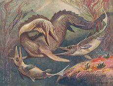 Mosasaurus and Ichthyosaurs. Illustration for Die Wunder der Urwelt (1912)