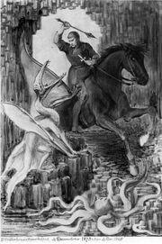 Saint George and Dragon by Waterhouse Hawkins 1868-73
