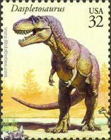 Дасплетозавр на марке