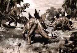 Ceratosaurus & Stegosaurus by Zdenek Burian, 1941