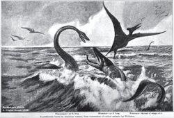 Carter Beard-1908-Mosasaurus & Plesiosaurus