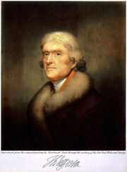 Painting of Jefferson wearing fur collar by Rembrandt Peale, 1805