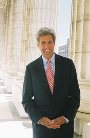 John Kerry promotional photograph columns