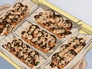 Cinco bandejas takoyaki