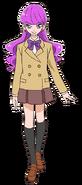 Perfil de Yukari con su uniforme escolar