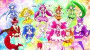 Smile Pretty Cure y KiraKira Pretty Cure A la Mode recordando a las HUGtto la importancia de hacer sonrisas
