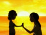 Saki y su madre mano